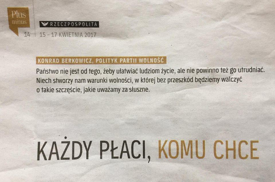 """Wywiad z Konradem Berkowiczem w """"Rzeczypospolitej"""" (Plus Minus)"""